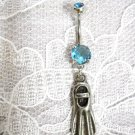 PEWTER SNORKEL SCUBA FLIPPER CHARM w BABY BLUE CZ SS BELLY RING