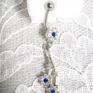 ELEGANT CLEAR & COBALT BLUE CRYSTAL FLOWERS 14g BELLY RING NAVEL BARBELL BODY JEWELRY