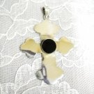 LARGE STERLING SILVER CROSS w BLACK ONYX GEMSTONE PENDANT ADJ NECKLACE