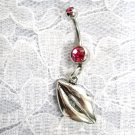 SILVER HOT LIPS IN A KISS w PINK CUBIC ZIRCONIA BELLY BUTTON RING BODY PIERCING