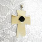 STERLING SILVER CROSS w ROUND BLACK ONYX GEMSTONE PENDANT ADJ NECKLACE