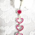 3 HEART HOT PINK CHARMS w PINK CUBIC ZIRCONIA BELLY RING
