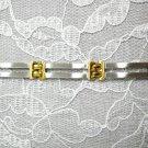 SATIN & SHINY w GOLD PLATE STAINLESS LINK BRACELET 8.75