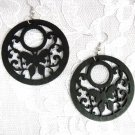 NEW BLACK WOODEN ROUND w SWIRL DESIGN & BUTTERFLY CUT OUT NATURE GIRL FASHION EARRINGS