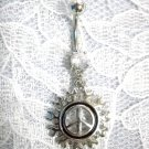 NEW STEEL PEACE SIGN IN TRIBAL FIRE FLAMES w CLEAR CZ NAVEL BAR BELLY BUTTON RING