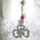 LUCKY IRISH 3 LEAF CLOVER w TRI KNOT CENTER w PINK CUBIC ZIRCONIA STONE SS NAVEL BELLY RING