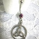 CELTIC INFINTY TRI KNOT IN A CIRCLE w PURPLE CUBIC ZIRCONIA STONE SS NAVEL BELLY RING