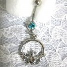 FRIENDSHIP CELTIC CLADDAGH w BABY BLUE CUBIC ZIRCONIA STONE SS NAVEL BELLY RING