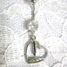 CLEARANCE SALE NATIVE SPIRIT HEART w FEATHER on 14g CLEAR CZ BELLY RING
