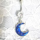 SOUTHWESTERN BLUE CELESTIAL MOON CRESCENT w STARS ON 14g CLEAR CZ BELLY RING BARBELL