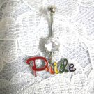 COLORFUL RAINBOW GAY PRIDE SCRIPT TEXT ON 14g CLEAR CZ NAVEL BELLY RING
