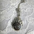 MAORI TRIBAL WARRIOR ART SPIRAL w FLAMES w CLEAR CZ BELLY BUTTON RING