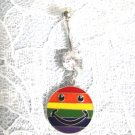 RAINBOW GAY PRIDE CLASSIC SMILEY FACE 14g CLEAR CZ NAVEL BARBELL BELLY RING
