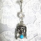 SALE - NATIVE BRAVE FACE TURQUOISE BLUE COLOR GEM CLEAR CZ NAVEL BELLY RING