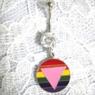 RAINBOW ROUND PINK TRIANGLE SS CLEAR CZ BELLY RING PIERCING