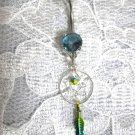 STERLING SILVER SPIRIT DREAMCATCHER w FEATHER & BABY BLUE CZ NAVEL BELLY RING