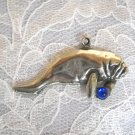 SALE LARGE SEA COW MANATEE w DEEP OCEAN BLUE CRYSTAL GEM PEWTER PENDANT NECKLACE