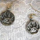 SALE USA PEWTER TOTEM SPIRIT WOLF PAW PRINT FULL PENDANT DANGLING EARRINGS ANIMAL TRACKS