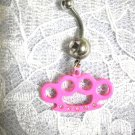 PINK BRASS KNUCKLES - SHE DUSTER w CRYSTALS CHARM CLEAR CZ BELLY BUTTON RING