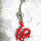 RED DRIPPING VAMPIRE LOVE L O V E TEXT w CLEAR CZ BODY PIERCING BELLY BUTTON RING
