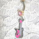 NEW PINK INLAY GUITAR w MUSIC NOTE & CRYSTALS ON 14g BABY PINK CZ BELLY BUTTON RING BARBELL