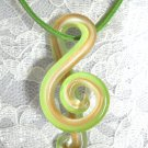 GLASS G CLEF MUSIC SYMBOL LIME GREEN - WHITE & GOLDEN SHIMMER PENDANT NECKLACE