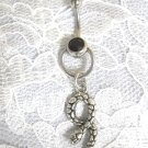 DOOR KNOCKER SLAVE BLACK CZ BELLY RING w TWISTED SNAKE BELLY RING BANANA BAR