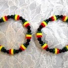 2 VIVID RASTA COLOR RED YELLOW GREEN BLACK BEADED STRETCH BRACELET 6 - 9 INCHES