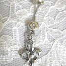 CLEARANCE SALE FLEUR DE LIS CHARM ON DBL CLEAR CZ BELLY BUTTON RING