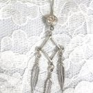DIAMOND SHAPED GEO DREAM CATCHER w 3 DANGLING FEATHERS 14g DAZZLING CLEAR BELLY RING