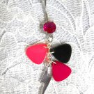 MUSIC - 3 TINY GUITAR PICKS & LIGHTNING BOLT PINK CZ BELLY BUTTON RING