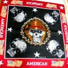 SKULLS / SKULL WEARING HAT AMERICAN DEATH MOBSTER GANGSTER FLAGS BANDANA