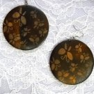 EXOTIC DARK BROWN w BUTTERFLIES / BUTTERFLY PRINT WOODEN ROUND DANGLING EARRINGS