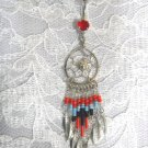 LONG BEADED RED - BLUE & BLACK 9 TASSLE DREAMCATCHER BELLY BUTTON RING