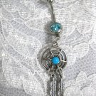 WEB DREAMCATCHER w TURQUOISE GEM & 2 FEATHERS w DBL BLUE CZ BELLY BUTTON RING