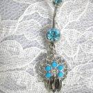 NEW NATIVE SPIRIT FLOWER GEM WEB DREAM CATCHER 14g TURQUOISE BLUE CZ BELLY RING