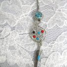 WEB DREAM CATCHER MULTI COLOR GEM DOT DANGLING FEATHER TURQ BLUE 14g CZ BELLY BUTTON RING