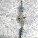 WEB DREAM CATCHER MULTI COLOR GEM DOT DANGLING FEATHER TURQ BLUE 14g CZ BELLY BUTTON RING