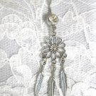 LONG DAISY FLOWER DREAM CATCHER w 3 DANGLING FEATHERS DAZZLING 14g CLEAR BELLY RING BARBELL