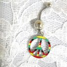 COLORFUL STRIPED PEACE SIGN SILOUETTE CLEAR CZ BELLY BUTTON RING