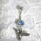NEW PEWTER 3D HUMMINGBIRD BIRD ON 14G BABY BLUE CZ BANANA BAR BELLY RING