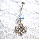 NEW CELTIC SCROLL INFINITY FOREVER KNOT CHARM ON 14G BABY BLUE CZ BELLY BUTTON RING