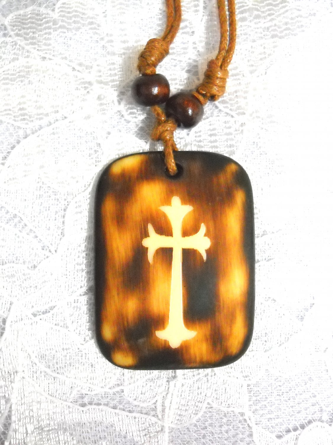 NEW RUST BROWN WASH OUT CROSS PENDANT ON BROWN ADJ NECKLACE FREE SHIPPING