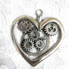 STEAMPUNK HEART GEARS SOLID CAST USA PEWTER PENDANT ON ADJUSTABLE CORD NECKLACE