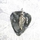 MUSICAL DARK GRAY CELLULOID GUITAR PICK w CELTIC ANGEL WING CHARM PENDANT ADJ NECKLACE
