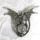 LARGE DETAILED SPINY WING DRAGON w CLEAR GLASS ORB BALL PEWTER PENDANT NECKLACE