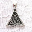 SOLID USA PEWTER CELTIC DOUBLE TRI KNOT PENDANT ADJ NECKLACE