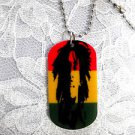"YOUNG MUSIC MAN BOB MARLEY ONE LOVE DARK RASTA COLOR DOG TAG SHAPED PENDANT 25"" BALL CHAIN NECKLACE"