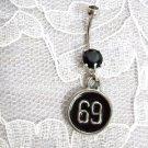 PEWTER 69 FULL PENDANT 14g BLACK CZ STAINLESS BELLY RING BARBELL