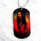 "BOB MARLEY MUSIC MAN LONG HAIR SPIRAL RASTA COLORS DOG TAG SHAPE PENDANT 25"" BALL CHAIN NECKLACE"